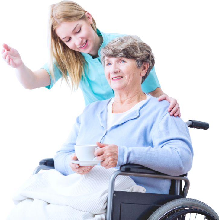 caregiver and an elderly woman on a wheelchair strolling